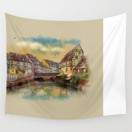 panorama city of Colmar France Wall Tapestry