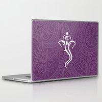 hindu Laptop & iPad Skins featuring Purple Ganesha - Hindu Elephant Deity by Enduring Moments