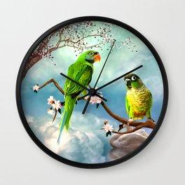 Wonderful, cute parrots Wall Clock