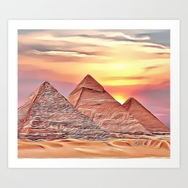Pyramid Sunset Airbrush Artwork Art Print