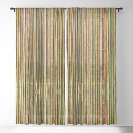 Bamboo fence, texture Sheer Curtain