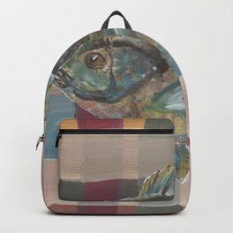 Bluegill on Earth Tone Plaid Backpack