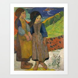 Two Breton Girls by the Sea by Paul Gauguin Art Print