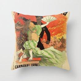 Th Tre De L Op Ra Carnaval 1896 Grand Veglione De Gala 1896 By Jules Cheret | Reproduction Art Nouve Throw Pillow