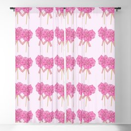 Let's Be Together For Ever - Pink Flowers Light Pink Backgrond #decor #society6 #buyart Blackout Curtain