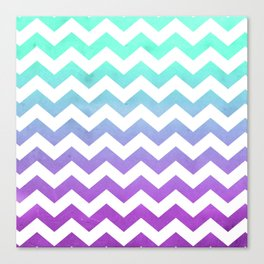 Purple Mint Aqua Ombre Chevron Pattern Canvas Print