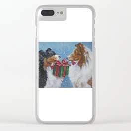 Christmas Shetland Sheepdogs dog art from an original painting by L.A.Shepard Clear iPhone Case