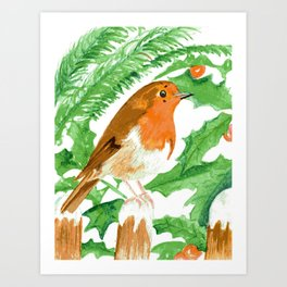 Robin with holly snow scene Art Print