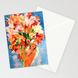 Blonde with Calla Lilies, Sunflowers, and Red Poppies bouquet, Monte Carlo floral portrait by Jean-Gabriel Domergue Stationery Cards