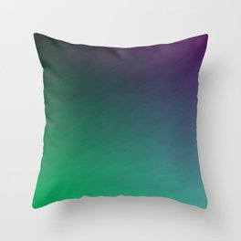 Peacock Green purple blue black ombre waves Throw Pillow