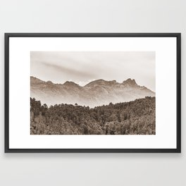 The mountain beyond the forest Framed Art Print