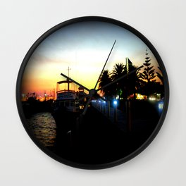 Night lights as Dusk settles over the Esplanade in Lakes Entrance - Australia Wall Clock