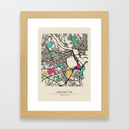 Colorful City Maps: Arlington County, Virginia Framed Art Print