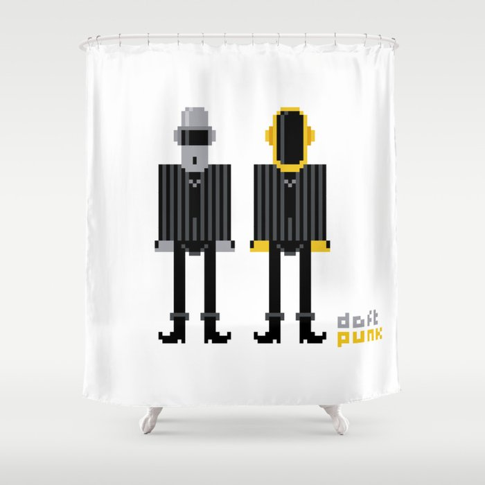 Pixel Daft Punk Shower Curtain By Pixelpower