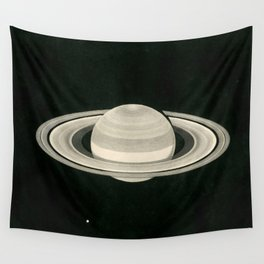 Print of a drawing by Warren De la Rue of Saturn and its moons Tethys and Enceladus - 1852 Wall Tapestry