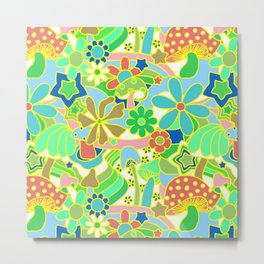 70's Psychedelic Garden in Lime + White Metal Print