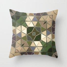 brown green sqaure Throw Pillow