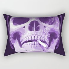 Skull Smoking Cigarette Purple Rectangular Pillow