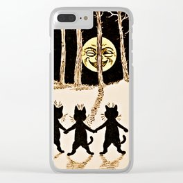 Cats & a Full Moon-Louis Wain Black Cats Clear iPhone Case