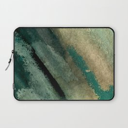 Green Thumb - an abstract mixed media piece in greens and blues Laptop Sleeve