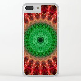 Red and bright green mandala Clear iPhone Case