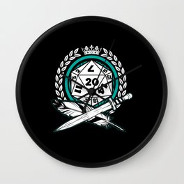 Role play D20 dice sword and feather Wall Clock