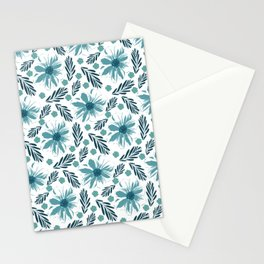 Teal blue wabi sabi floral print Stationery Cards