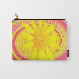 Yellow Sunflower on a Fuchsia Psychedelic Swirl Carry-All Pouch