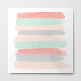 Stripes hand painted abstract minimal nursery decor gender neutral palette Metal Print