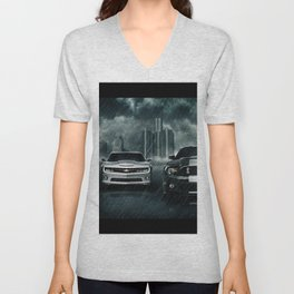 car rain digital silver cars red cars black cars vehicle Unisex V-Neck