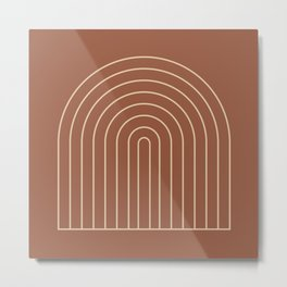 Geometric Lines in Terracotta 2 Metal Print