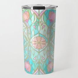 Floral Moroccan in Spring Pastels - Aqua, Pink, Mint & Peach Travel Mug