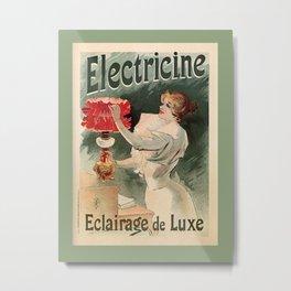 Electricine, French luxury lighting vintage ad Metal Print