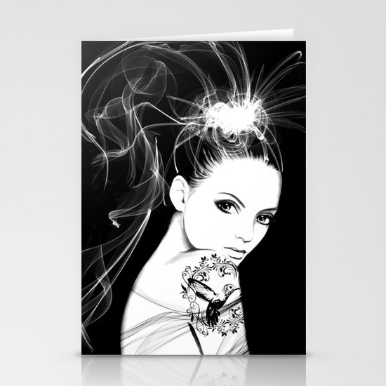 Smoke Girl Stationery Cards