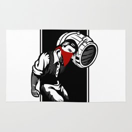 Thief illustration with wine cask Rug