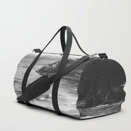 Pacific Northwest Grandeur - Heceda Lighthouse Black and White Duffle Bag