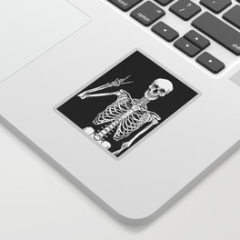 Human skeleton posing isolated over black background vector illustration Sticker