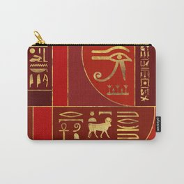 Egyptian Geometric Art Deco Red and Gold Carry-All Pouch