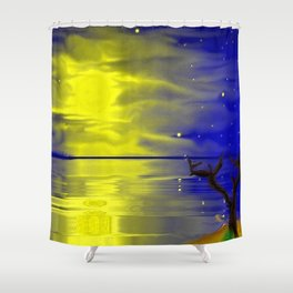 Moon, stars, see and tree ... Shower Curtain