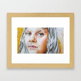 Girl with gray hair Framed Art Print
