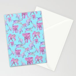 Pink and Lavender Elephants Stationery Cards