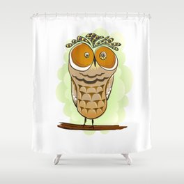 Crazy Owl Shower Curtain