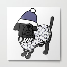 Cute dog wearing a hat and winter sweater Metal Print
