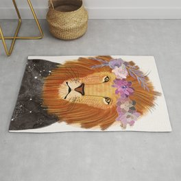 Lion with flowers on head Rug