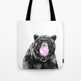 Bubble Gum Big Bear Black and White Tote Bag