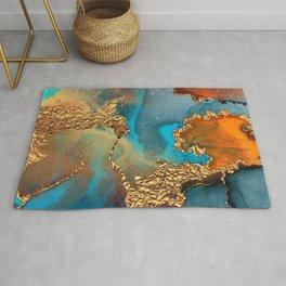 Abstract Blue And Gold Autumn Marble Rug
