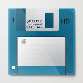 Floppy Disk Blue Metal Print