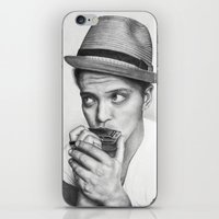 bruno mars iPhone & iPod Skins featuring Bruno Mars by Pritish Bali