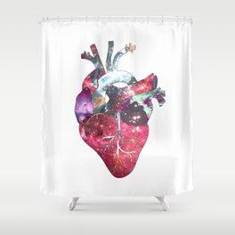 Superstar Heart (on white) Shower Curtain
