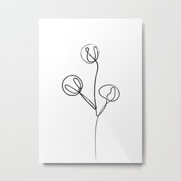 One Line Cotton Plant Drawing Metal Print